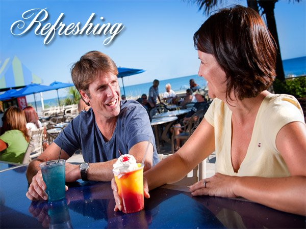 Splash Oceanfront Bar & Grill features a variety of cold drinks and great food from the grill
