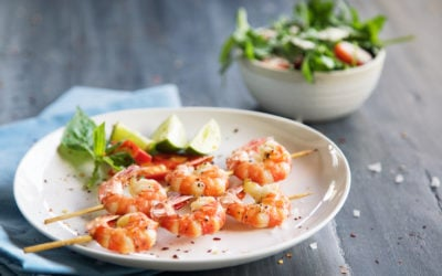 Grilled shrimps on skews with lime slices and salad